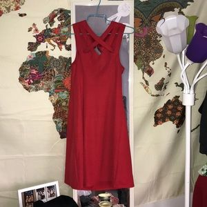 Red Criss Cross Strap Dress